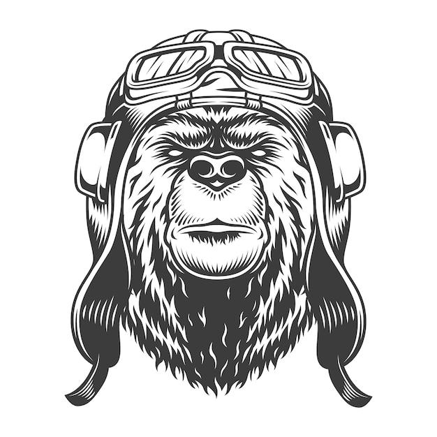 Урожай пилот головы медведя в шлеме в монохромном стиле, изолированных векторная иллюстрация Бесплатные векторы