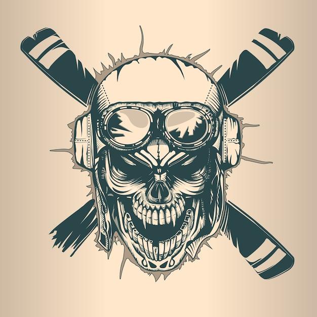 Vintage pilot skull, monochrome hand drawn tatoo style Premium Vector