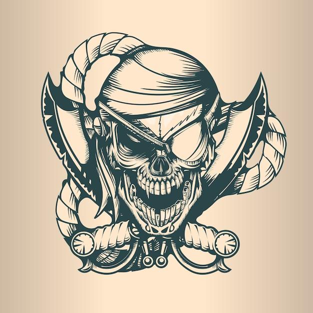 Vintage pirate skull, monochrome hand drawn tatoo style Premium Vector