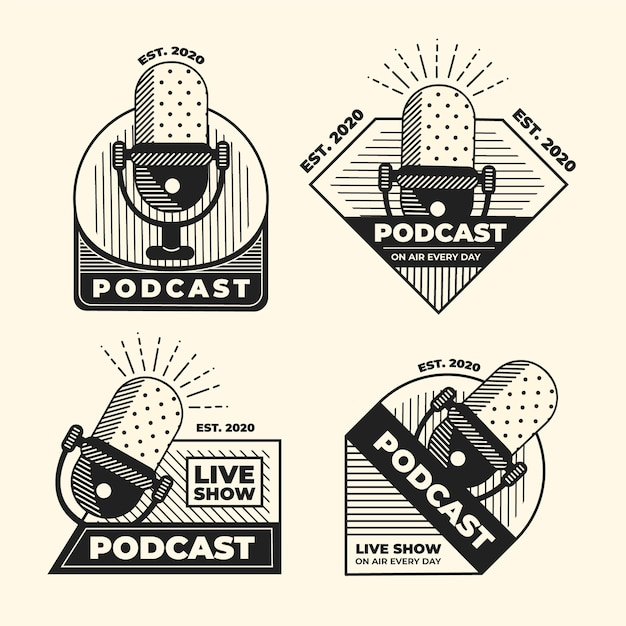 Set di loghi podcast vintage Vettore gratuito