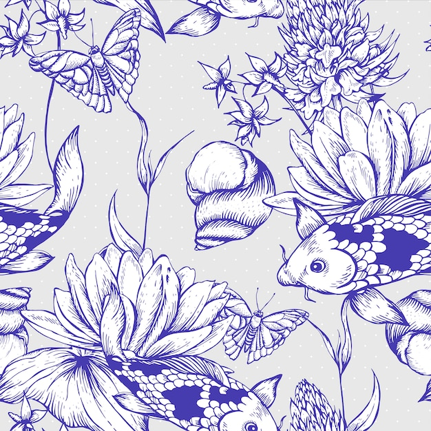 Vintage pond water flowers seamless pattern Premium Vector