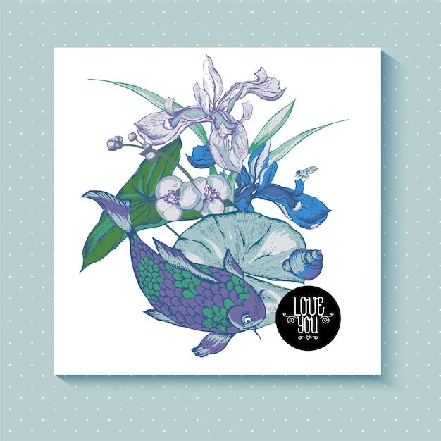 빈티지 연못 물 꽃 인사말 카드 프리미엄 벡터