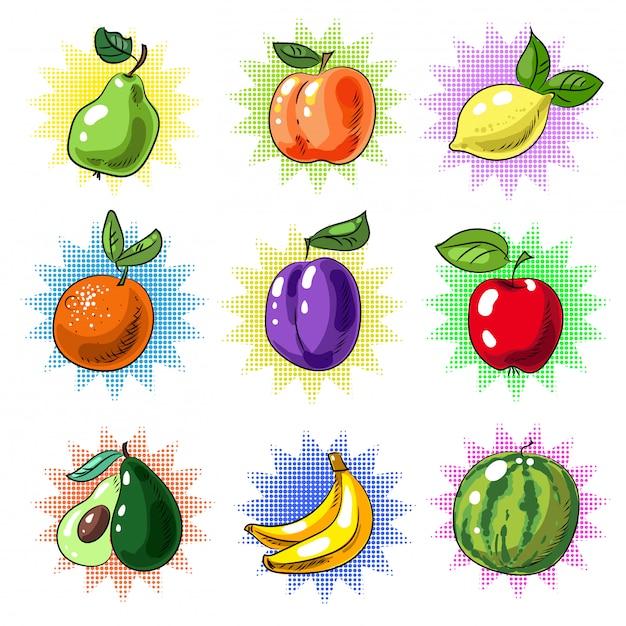 Vintage pop art fruit patch or sticker set Premium Vector