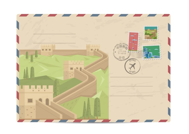 Vintage postal envelope with china stamps Premium Vector