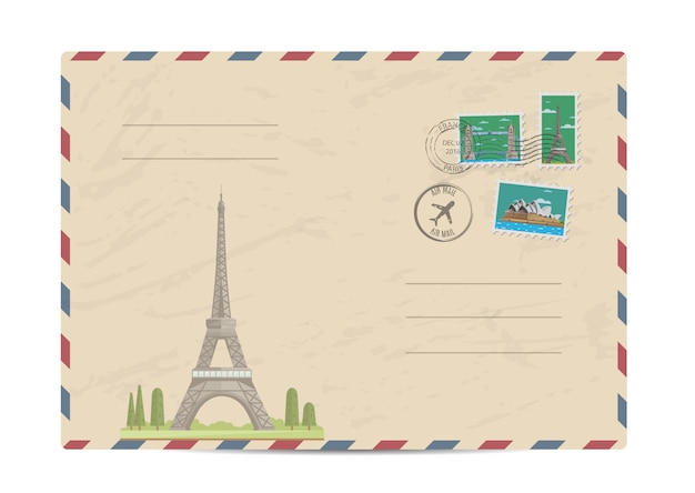 Vintage postal envelope with stamps Premium Vector
