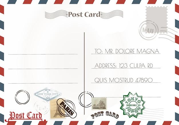 Vintage postcard designs and stamps Premium Vector