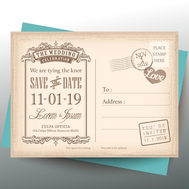 Cartolina d'epoca salvare la data di sfondo per invito a nozze Vettore gratuito