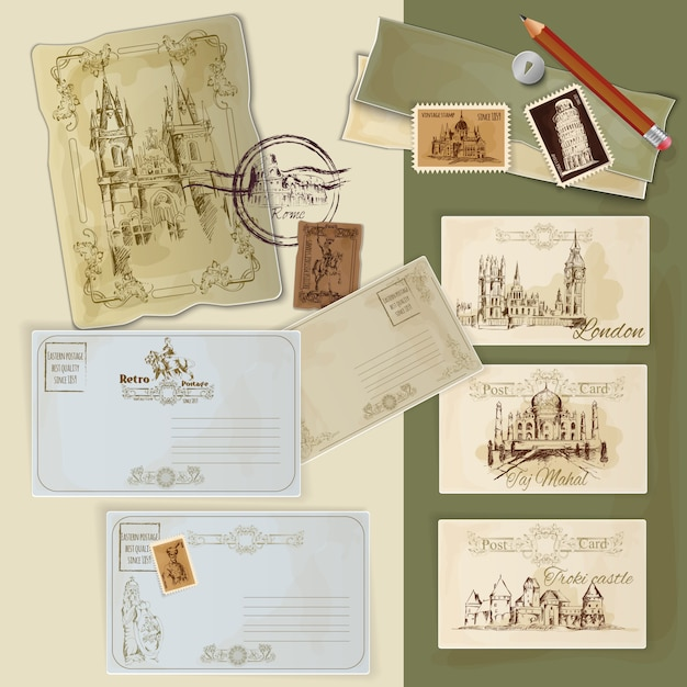 Vintage postcards set Free Vector