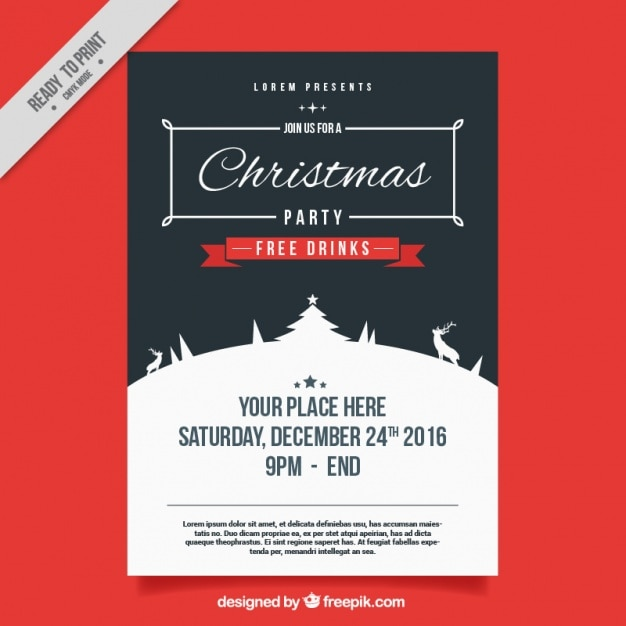 Vintage poster of christmas party Free Vector