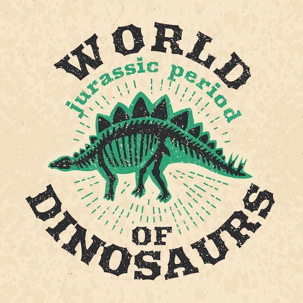 Vintage poster of fossil bones of dinosaur. Premium Vector