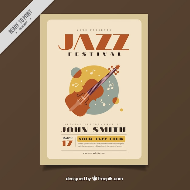 Vintage Poster Of Jazz Festival With Violin Vector