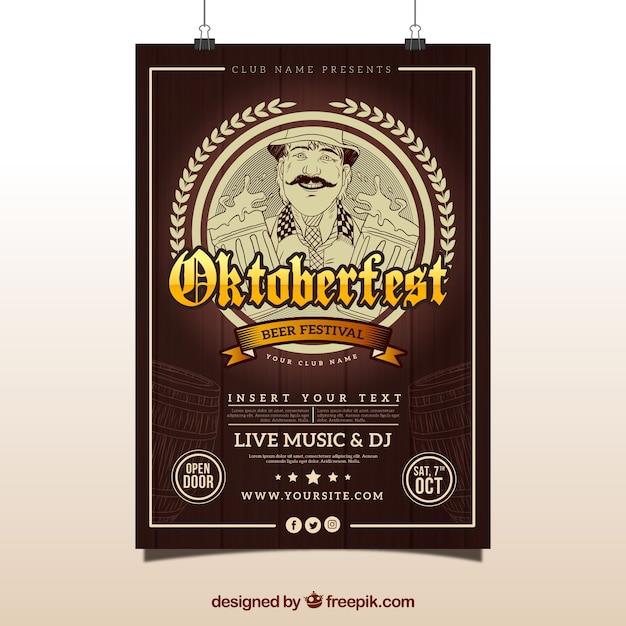 Vintage poster of oktoberfest Free Vector