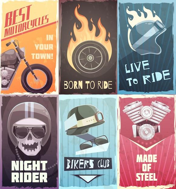 Vintage poster ride set Free Vector