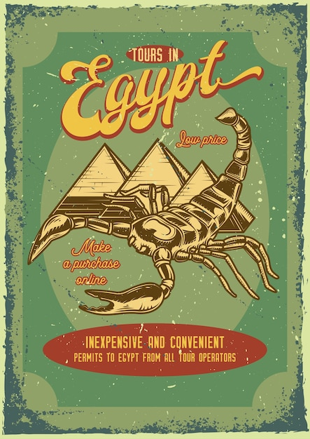 Poster vintage di uno scorpione e piramidi Vettore gratuito