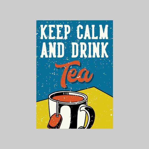 Время чая в винтажном плакате и идеальный чай для любого настроения в стиле ретро Premium векторы