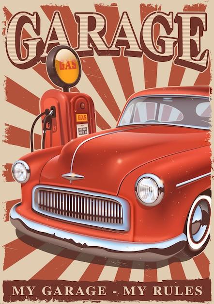古典的なアメリカの車と古いガスポンプのビンテージポスター。レトロなメタルサイン。 Premiumベクター