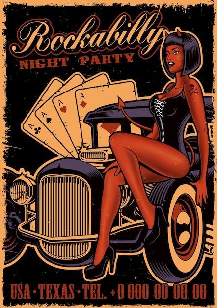 Vintage poster with girl devil on the classic car on dark background. flyer template in rockabilly style. Premium Vector