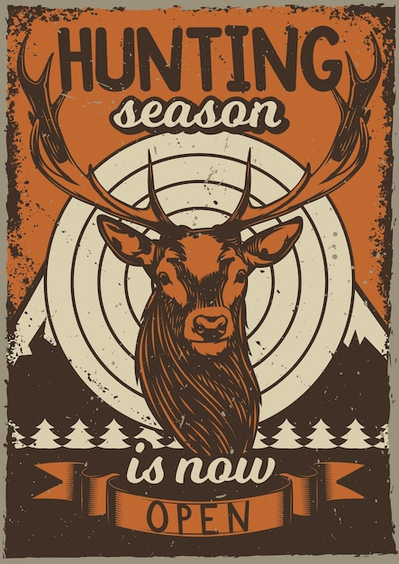 Vintage poster with illustration of a deer Free Vector