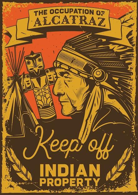 Poster vintage con illustrazione di un uomo indiano, un totem e un wigwam Vettore gratuito