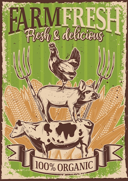 Vintage poster with illustration of livestock standing on each other Free Vector