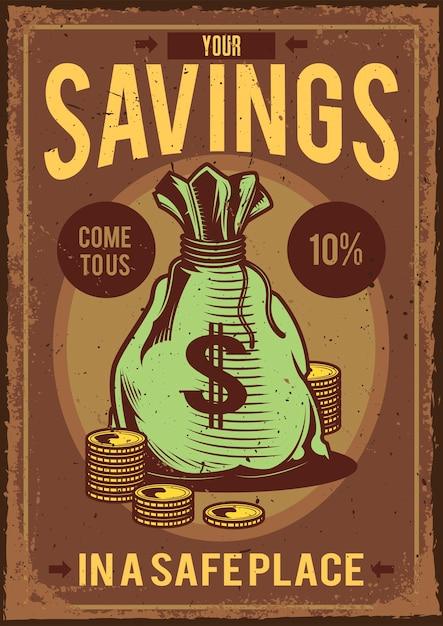 お金とその周りにコインが入ったバッグのイラストとビンテージポスター 無料ベクター