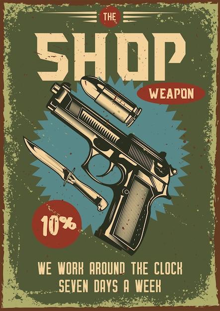 銃とその部品のイラストとビンテージポスター 無料ベクター