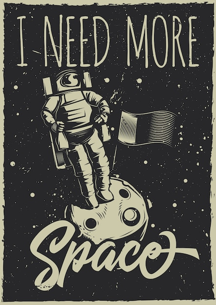 月面車と惑星のイラストとビンテージポスター 無料ベクター