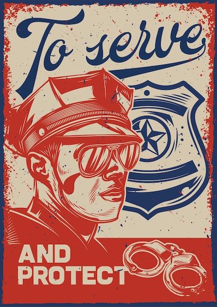 경찰관과 경찰 기호 일러스트와 함께 빈티지 포스터 무료 벡터