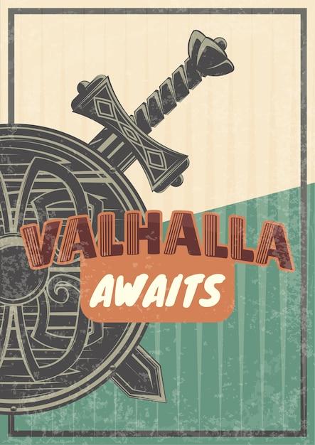 Винтажный плакат с иллюстрацией щита и мечей. Бесплатные векторы