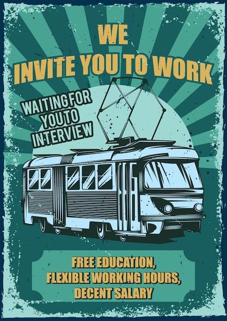 Старинный плакат с иллюстрацией трамвая Бесплатные векторы