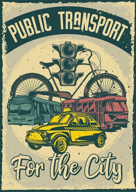 Старинный плакат с иллюстрацией общественного транспорта Бесплатные векторы