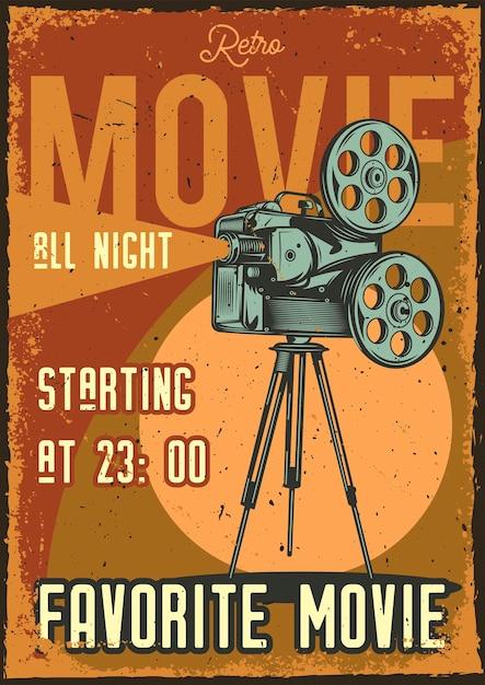 Poster vintage con illustrazione di un proiettore Vettore gratuito