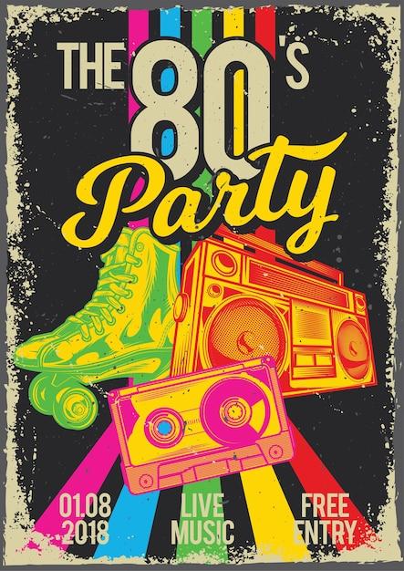Poster vintage con illustrazione di pattinatori, cassetta e radio Vettore gratuito