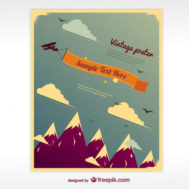 Vintage poster with mountains Free Vector