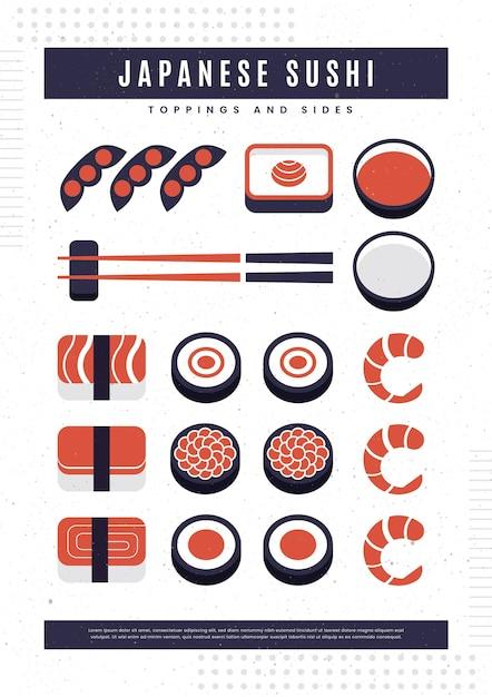 寿司魚とビンテージのポスター 無料ベクター