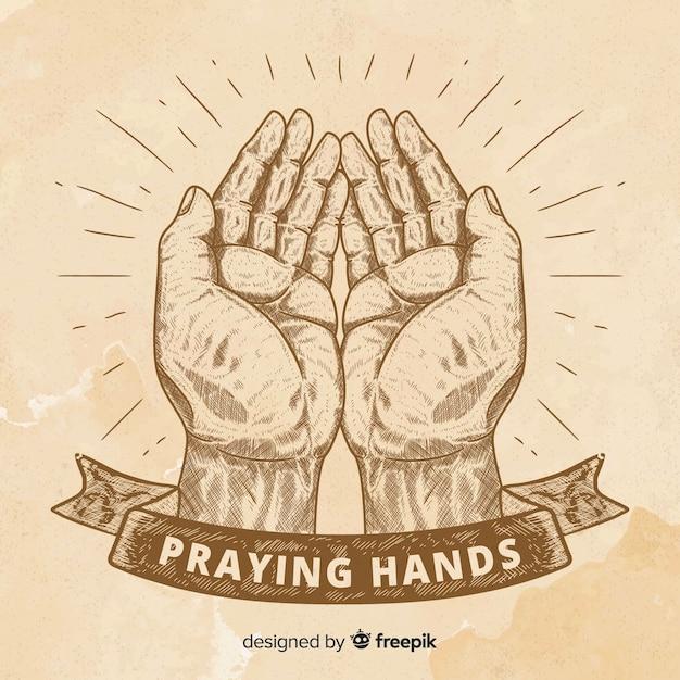 Vintage praying hands background Free Vector