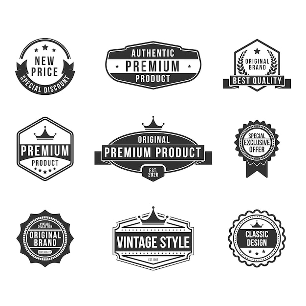 Vintage premium product flat badges set Free Vector