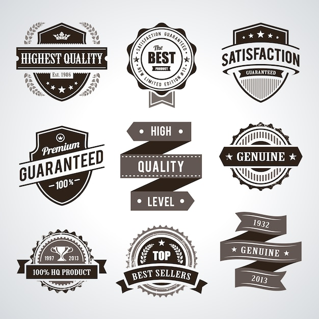 Vintage premium quality labels Free Vector