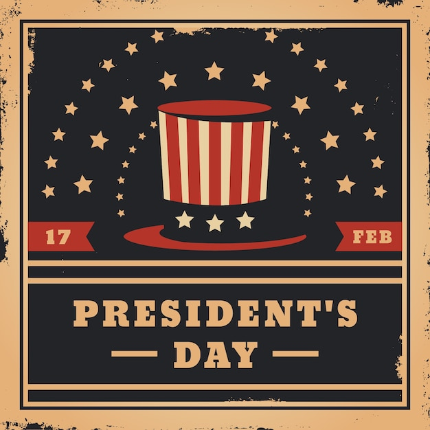 Vintage president's day and top hat with stars Free Vector