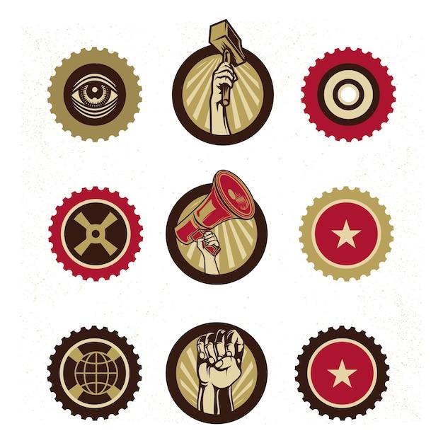 Vintage propaganda logo branding and elements Premium Vector