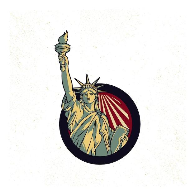Vintage Propaganda Of Usa Liberty Statue Logo American 4th July