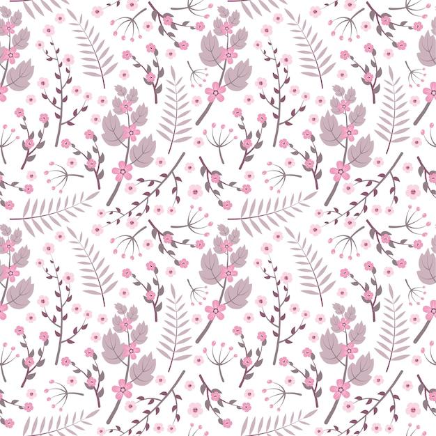 Vintage Purple Flowers Seamless Pattern On White Background Premium Vector
