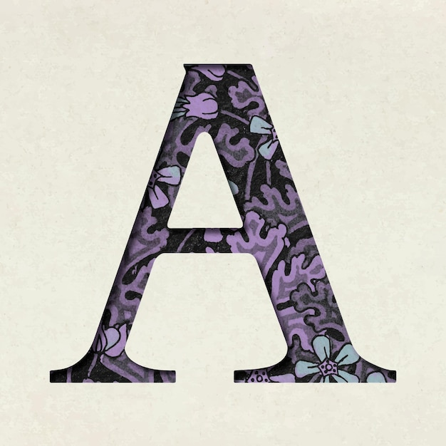 Vintage purple letter a typography Free Vector