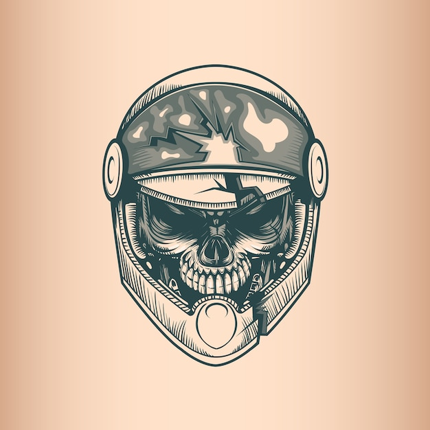 Vintage racer skull, monochrome hand drawn tatoo style Premium Vector