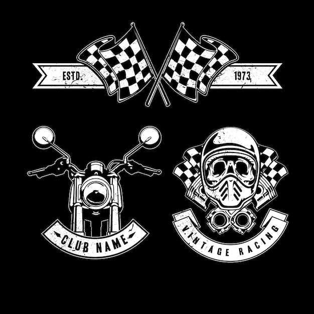 Vintage racing elements Free Vector