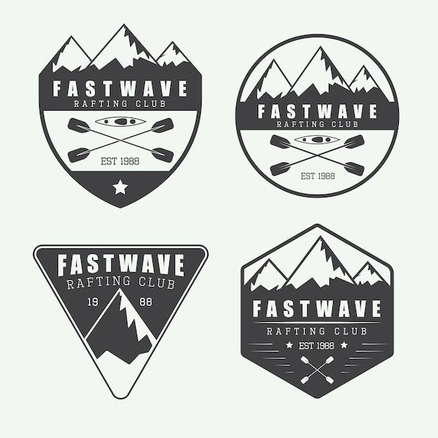 Vintage rafting logo Premium Vector