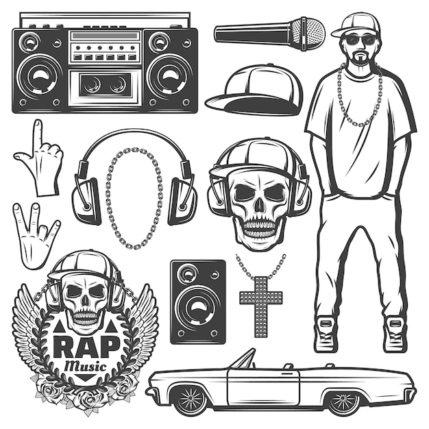 Vintage rap music elements collection with rapper boombox microphone cap chain necklace loudspeaker car skull label headphones isolated Free Vector
