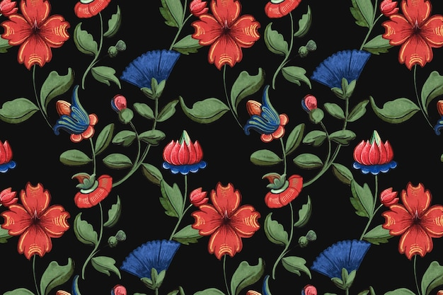 Vintage red and blue floral pattern Free Vector
