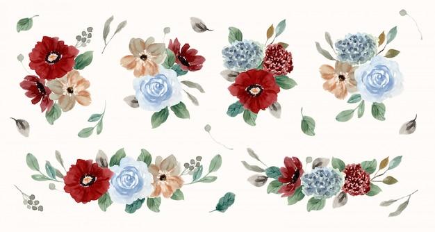 Коллекция акварели винтажный красный синий цветочная композиция Premium векторы