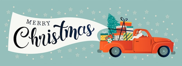 Vintage red car with santa claus Premium Vector